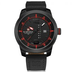 Naviforce NF9063 30M Waterproof Luxury Leather Strap Wrist Watch - Black/Red/Black