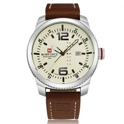 Naviforce NF9063 30M Waterproof Luxury Leather Strap Wrist Watch - Silver/Black/Brown