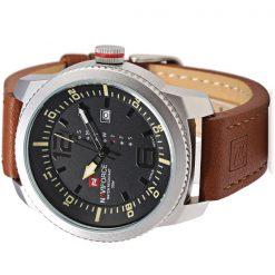 NaviforceNF906330MWaterproofLuxury Leather Strap WristWatch - Silver/Yellow/Brown