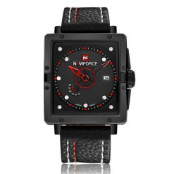 Naviforce NF9065 30M Waterproof Analog Leather Strap Wrist Watch - Black/Red/Black
