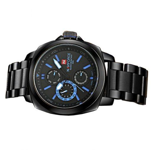 NaviforceNF9069 30MWaterproofChronograph Analog Stainless Steel WristWatch - Black/Black/Blue