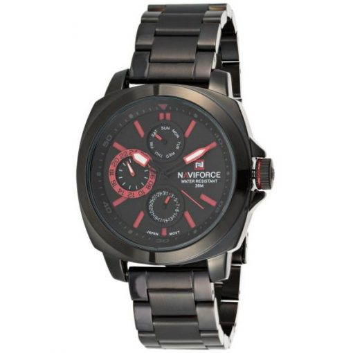 Naviforce NF9069 30M Waterproof Chronograph Analog Stainless Steel Wrist Watch - Black/Black/Red