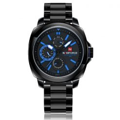 Naviforce NF9069 30M Waterproof Chronograph Analog Stainless Steel Wrist Watch - Black/Black/Blue