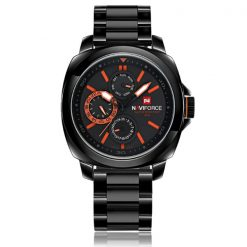 Naviforce NF9069 30M Waterproof Chronograph Analog Stainless Steel Wrist Watch - Black/Black/Orange