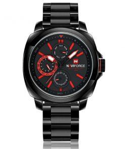 NaviforceNF9069 30MWaterproofChronograph Analog Stainless Steel WristWatch - Black/Black/Red