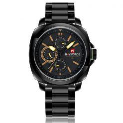 NaviforceNF9069 30MWaterproofChronograph Analog Stainless Steel WristWatch - Black/Black/Yellow