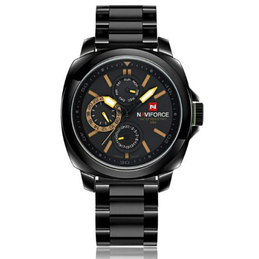 Naviforce NF9069 30M Waterproof Chronograph Analog Stainless Steel Wrist Watch - Black/Black/Yellow