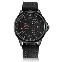 NaviforceNF907430MWaterproofAnalog Leather Strap WristWatch - Black/Gray/Black