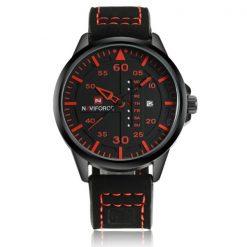 NaviforceNF907430MWaterproofAnalog Leather Strap WristWatch - Black/Red/Black