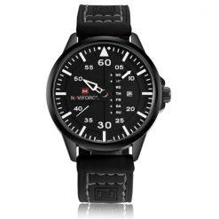 NaviforceNF907430MWaterproofAnalog Leather Strap WristWatch - Black/White/Black