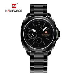 Naviforce NF9069 30M Waterproof Chronograph Analog Stainless Steel Wrist Watch - Gray