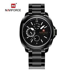 Naviforce NF9069 30M Waterproof Chronograph Analog Stainless Steel Wrist Watch - White