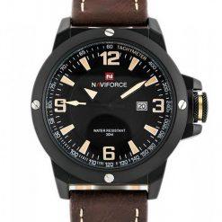 Naviforce 9077 Dial Analog Watch for Men - Black/Yellow/Dark Brown