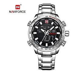 NAVIFORCE 9093 Luminous Calendar Chronograph Steel Band Wristwatch - Silver