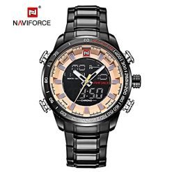 NAVIFORCE Luminous Calendar Chronograph Steel Band Wristwatch - Yellow