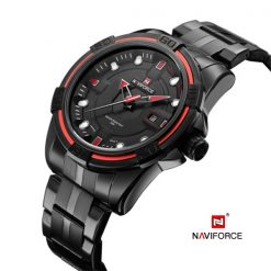 Naviforce 9079 Dial Analog Watch for Men - Black/Black/Red