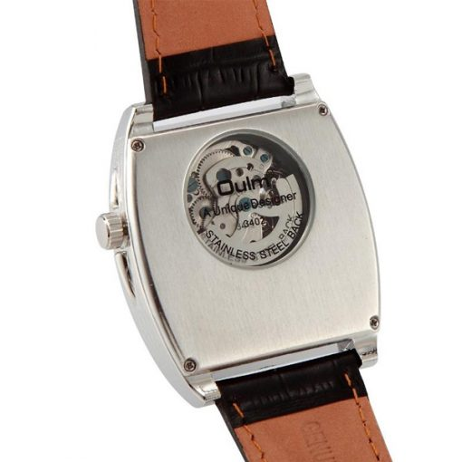 Oulm Mechanical Big Dial Leather Band Casual Watch - Silver