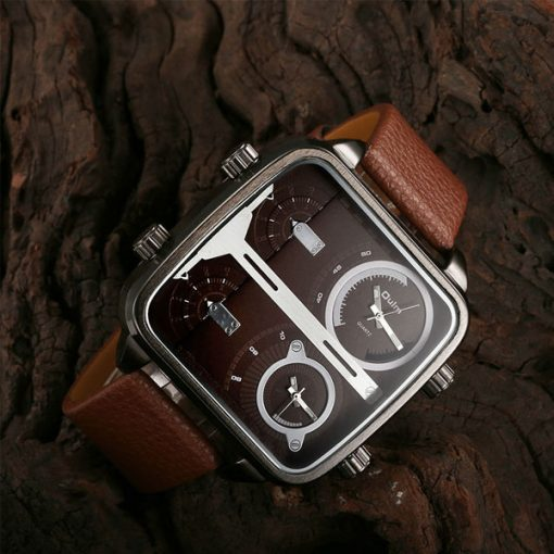 OULM 4 Time Zones Military Sports Watch - Brown