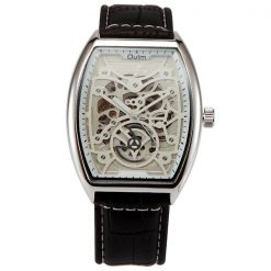 Oulm Mechanical Quartz Movement Leather Casual Watch - Silver