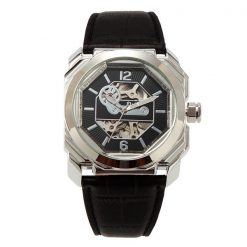 Oulm Men Mechanical Hollow Out Dial Leather Band Watch - Silver