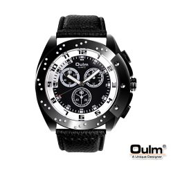 Oulm HP9964 Men's Quartz Round Dial Leather Watch - White