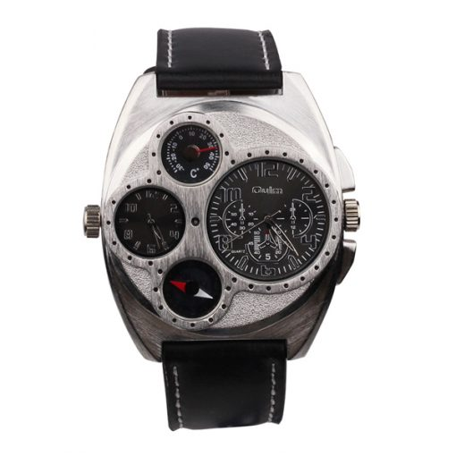 OULM Luxury Leather Thermometer Compass Watch - Black