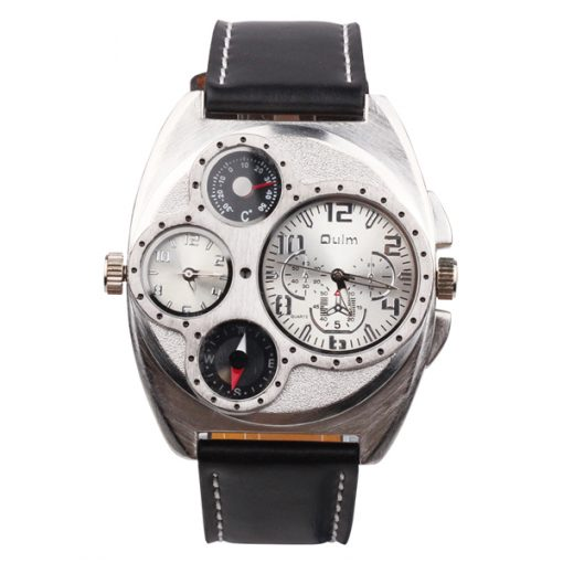OULM Luxury Leather Thermometer Compass Watch - White