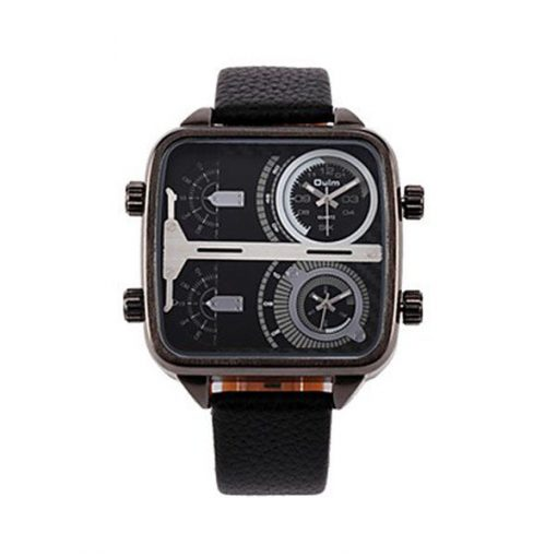 OULM 4 Time Zones Military Sports Watch - Black