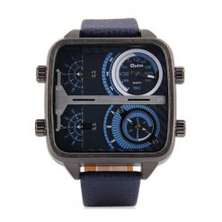 OULM 4 Time Zones Military Sports Watch - Blue