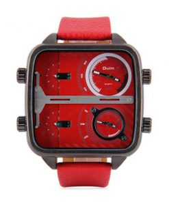 OULM 4 Time Zones Military Sports Watch - Red