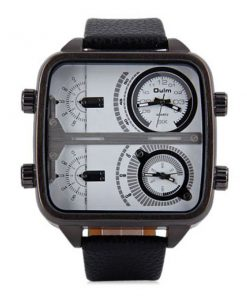 OULM 4 Time Zones Military Sports Watch - White