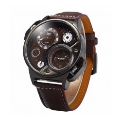 OULM Dual Time Watch 3578 - Brown