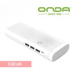Onda 10000 mAh Power Bank With LED Light - White