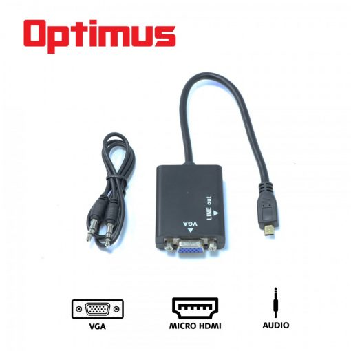 Optimus Micro HDMI to VGA Converter- Black