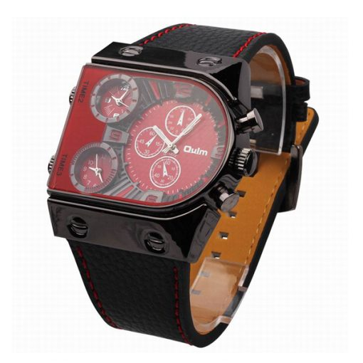 Oulm 3 Time Zone Sports Leather Military Army Watch - Black/Red