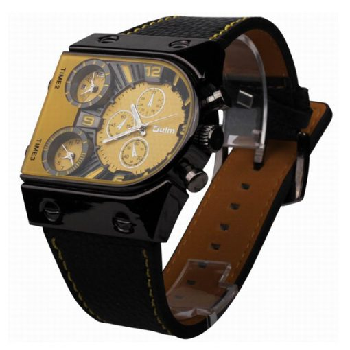 Oulm 3 Time Zone Sports Leather Military Army Watch - Black/Yellow
