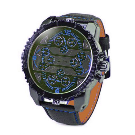 Oulm 4 Time Zones Round Dial Quartz Watch - Blue
