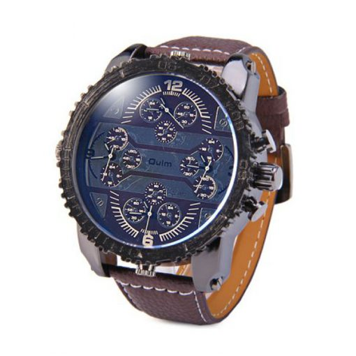 Oulm 4 Time Zones Round Dial Quartz Watch - Brown