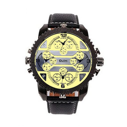 Oulm 4 Time Zones Round Dial Quartz Watch - Yellow