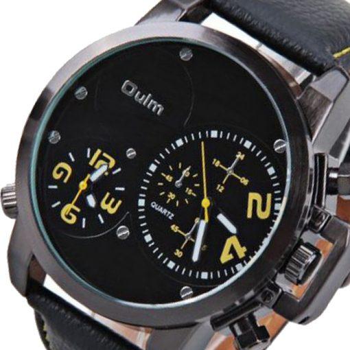 Oulm Dual Time Movements Quartz Wrist Watch - Yellow