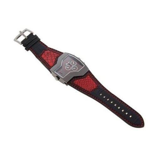 Oulm Military Men's Watch with Dual Movt Dial Leather - Red