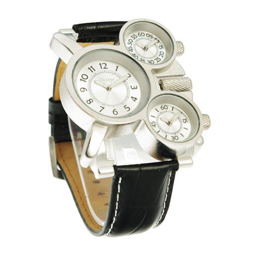 Oulm Three Time Display Quartz Military Army Sport Wrist Watch - White
