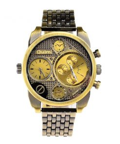 Oulm 2 Time Zones Military Quartz Alloy Wrist Watch - Green