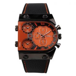 Oulm 3 Time Zone Sports Leather Military Army Watch - Black/Orange