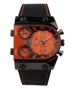 Oulm 3 Time Zone Sports Leather Military Army Watch - Black/Orange