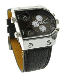 Oulm 3 Time Zone Sports Leather Military Army Watch - Silver/Black
