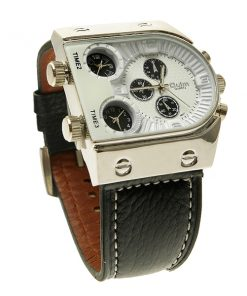 Oulm 3 Time Zone Sports Leather Military Army Watch - Silver/White