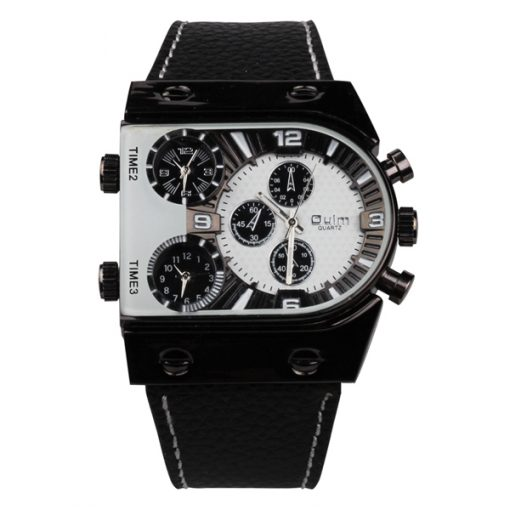 Oulm 3 Time Zone Sports Leather Military Army Watch - Black/White