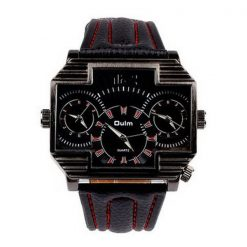 Oulm 3 Time Zones Cross Shape Men's Quartz Watch - Red