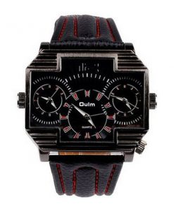 Oulm 3 Time Zones Cross Shape Men's Quartz Watch - Red